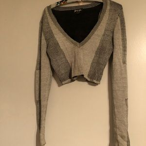 Nasty Gal Gray ribbed pull over sweater